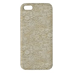 Old Floral Crochet Lace Pattern Beige Bleached Apple Iphone 5 Premium Hardshell Case by EDDArt