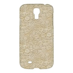 Old Floral Crochet Lace Pattern Beige Bleached Samsung Galaxy S4 I9500/i9505 Hardshell Case by EDDArt