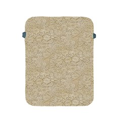 Old Floral Crochet Lace Pattern Beige Bleached Apple Ipad 2/3/4 Protective Soft Cases by EDDArt