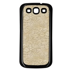 Old Floral Crochet Lace Pattern Beige Bleached Samsung Galaxy S3 Back Case (black) by EDDArt