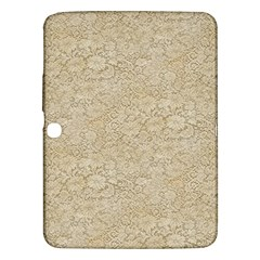 Old Floral Crochet Lace Pattern Beige Bleached Samsung Galaxy Tab 3 (10 1 ) P5200 Hardshell Case  by EDDArt