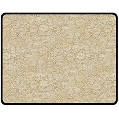 Old Floral Crochet Lace Pattern Beige Bleached Double Sided Fleece Blanket (medium)  by EDDArt