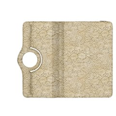 Old Floral Crochet Lace Pattern Beige Bleached Kindle Fire Hdx 8 9  Flip 360 Case by EDDArt