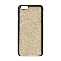 Old Floral Crochet Lace Pattern Beige Bleached Apple Iphone 6/6s Black Enamel Case by EDDArt