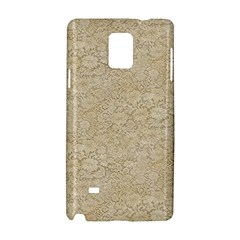 Old Floral Crochet Lace Pattern Beige Bleached Samsung Galaxy Note 4 Hardshell Case by EDDArt