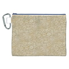 Old Floral Crochet Lace Pattern Beige Bleached Canvas Cosmetic Bag (xxl) by EDDArt