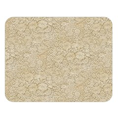 Old Floral Crochet Lace Pattern Beige Bleached Double Sided Flano Blanket (large)  by EDDArt