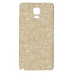 Old Floral Crochet Lace Pattern Beige Bleached Galaxy Note 4 Back Case by EDDArt