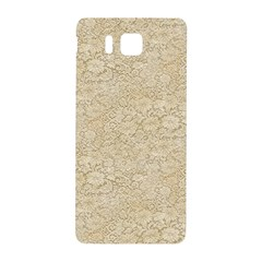 Old Floral Crochet Lace Pattern Beige Bleached Samsung Galaxy Alpha Hardshell Back Case by EDDArt
