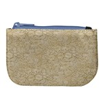 Old Floral Crochet Lace Pattern beige bleached Large Coin Purse Front