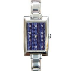 Wrinkly Batik Pattern   Blue Black Rectangle Italian Charm Watch by EDDArt