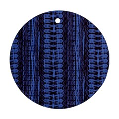Wrinkly Batik Pattern   Blue Black Ornament (round) by EDDArt