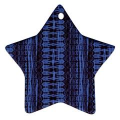 Wrinkly Batik Pattern   Blue Black Ornament (star) by EDDArt