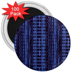 Wrinkly Batik Pattern   Blue Black 3  Magnets (100 Pack) by EDDArt