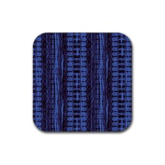 Wrinkly Batik Pattern   Blue Black Rubber Coaster (square)  by EDDArt