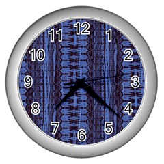 Wrinkly Batik Pattern   Blue Black Wall Clocks (silver)  by EDDArt