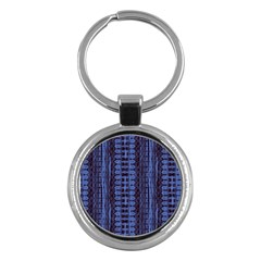 Wrinkly Batik Pattern   Blue Black Key Chains (round)  by EDDArt