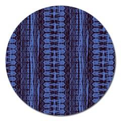 Wrinkly Batik Pattern   Blue Black Magnet 5  (round) by EDDArt