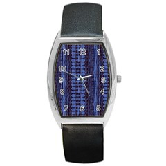 Wrinkly Batik Pattern   Blue Black Barrel Style Metal Watch by EDDArt
