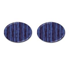 Wrinkly Batik Pattern   Blue Black Cufflinks (oval) by EDDArt