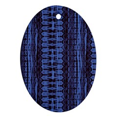 Wrinkly Batik Pattern   Blue Black Oval Ornament (two Sides) by EDDArt