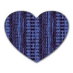 Wrinkly Batik Pattern   Blue Black Heart Mousepads by EDDArt