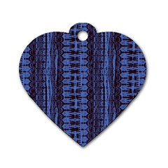 Wrinkly Batik Pattern   Blue Black Dog Tag Heart (two Sides) by EDDArt
