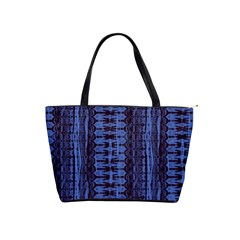 Wrinkly Batik Pattern   Blue Black Shoulder Handbags by EDDArt