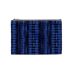 Wrinkly Batik Pattern   Blue Black Cosmetic Bag (medium)  by EDDArt