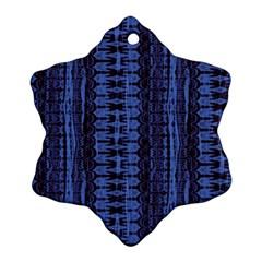 Wrinkly Batik Pattern   Blue Black Snowflake Ornament (two Sides) by EDDArt