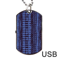 Wrinkly Batik Pattern   Blue Black Dog Tag Usb Flash (two Sides) by EDDArt