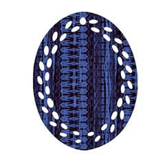 Wrinkly Batik Pattern   Blue Black Oval Filigree Ornament (two Sides) by EDDArt