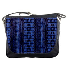Wrinkly Batik Pattern   Blue Black Messenger Bags by EDDArt
