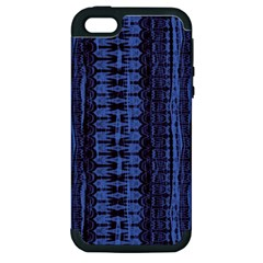 Wrinkly Batik Pattern   Blue Black Apple Iphone 5 Hardshell Case (pc+silicone) by EDDArt