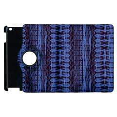 Wrinkly Batik Pattern   Blue Black Apple Ipad 3/4 Flip 360 Case by EDDArt