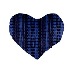 Wrinkly Batik Pattern   Blue Black Standard 16  Premium Heart Shape Cushions by EDDArt
