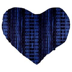 Wrinkly Batik Pattern   Blue Black Large 19  Premium Heart Shape Cushions by EDDArt