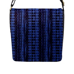 Wrinkly Batik Pattern   Blue Black Flap Messenger Bag (l)  by EDDArt