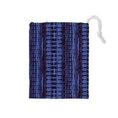 Wrinkly Batik Pattern   Blue Black Drawstring Pouches (medium)  by EDDArt