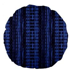 Wrinkly Batik Pattern   Blue Black Large 18  Premium Flano Round Cushions by EDDArt