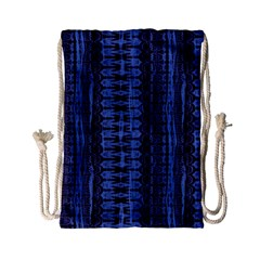 Wrinkly Batik Pattern   Blue Black Drawstring Bag (small) by EDDArt