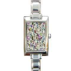 Colorful Retro Style Letters Numbers Stars Rectangle Italian Charm Watch by EDDArt