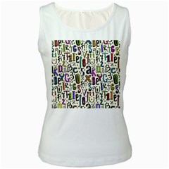 Colorful Retro Style Letters Numbers Stars Women s White Tank Top by EDDArt