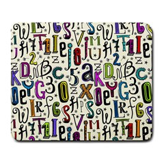 Colorful Retro Style Letters Numbers Stars Large Mousepads by EDDArt