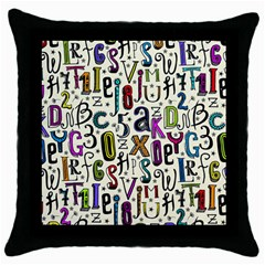 Colorful Retro Style Letters Numbers Stars Throw Pillow Case (black) by EDDArt