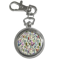 Colorful Retro Style Letters Numbers Stars Key Chain Watches by EDDArt