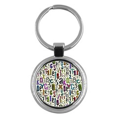 Colorful Retro Style Letters Numbers Stars Key Chains (round)  by EDDArt