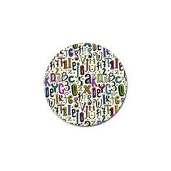 Colorful Retro Style Letters Numbers Stars Golf Ball Marker (10 Pack) by EDDArt