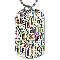 Colorful Retro Style Letters Numbers Stars Dog Tag (two Sides) by EDDArt