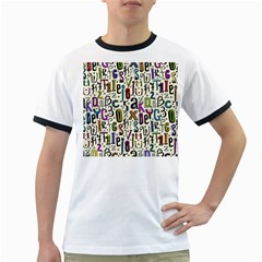 Colorful Retro Style Letters Numbers Stars Ringer T Shirts by EDDArt